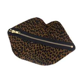 Claflin, Thayer & Co Large Zip Lips Faux Baby Cheetah / Brass Zip Product Image